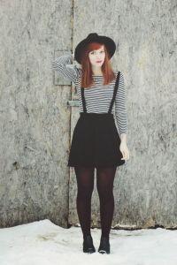 Suspender skater skirt, long sleeve top and hat